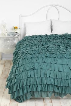 omg! love! ruffle bedspread / cover in a white room, sea green right up my street xo