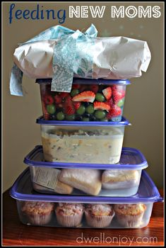 "If you give a new mom some soup, she'll want some bread to go with it...which will make her feel unbalanced so she'll want some fruit, which will remind her of dessert, so you'll also include some yummy muffins. But you'll leave out the extra sweetness so she has some left for breakfast! :) Wrap a little present of ""If you give a mouse a cookie"" as a gift for the babe. Adorable!"