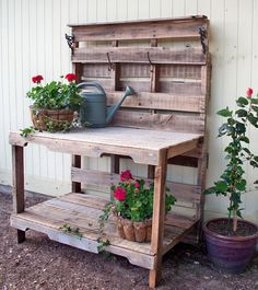 We made this bench from two pallets. We sanded the wood, built in a small shelf and added a couple of hooks we removed from an old coat rack. - Gardening Rustic