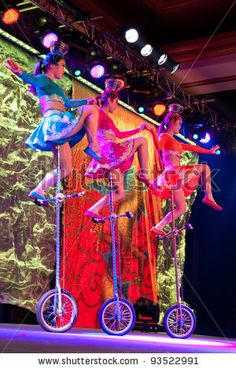 Chinese acrobats on unicycles
