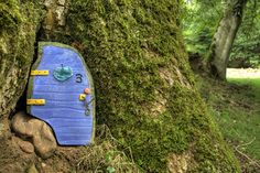 Fairy door at the Fairy Row, near Gelt Wood, Cumbria. Photo by Alan Cleaver, used with permission. Iceland Elves, Mini Fairy Garden, Fairy Gardens, Miniature Gardens, Magic Realms, Fairy Village, Gnome House, Hanging Planters, Succulent Planters