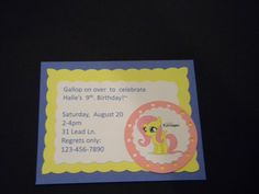 My Little Pony invitations by CustomPaperations on Etsy, $12.00