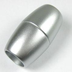 1 Stück Kunststoff Magnetverschluss, 41x24mm, Innen Ø 15mm, Silber matt