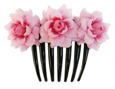Pink  Rose flower Hair Comb Wedding by Binitagirl on Etsy, $5.99