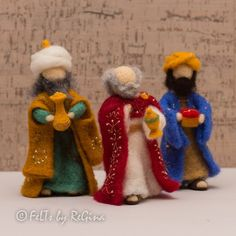 Items similar to Needle felted Waldorf inspired Nativity set Three Wise men on Etsy Christmas Nativity Scene, Felt Christmas Ornaments, Christmas Crafts, Nativity Scenes, Christmas Bells, Christmas Printables, Epiphany Crafts, Felt Fairy, Nativity Crafts