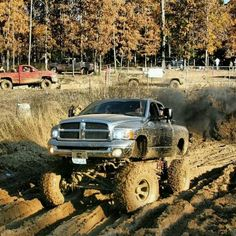 Mudding! Im in love with dodges. :)