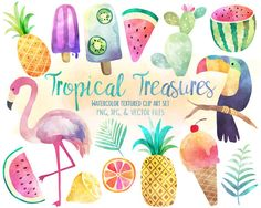 Tropical Clip Art - Watercolor Summer Clipart Set, Vector Clipart, Beach Clipart, Flamingo Clipart, Pineapple Clipart, & More!