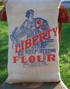 Primitive Antique Patriotic Liberty Flour Sack Buttery Bag Pillow Red White Blue | eBay