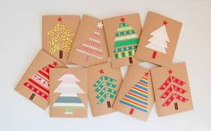 Easy DIY Holiday Crafts - Forest of Fabric - Click pic for 25 Handmade Christmas Cards Ideas. Use fabric, ribbon or washi tape. Christmas Card Crafts, Homemade Christmas Cards, Christmas Wrapping, Simple Christmas, Handmade Christmas, Holiday Crafts, Christmas Trees, Christmas Fabric, Diy Holiday Cards