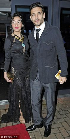 ... while Manchester City star Jesús Navas arrived hand in hand wit wife Alejandra Moral...