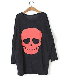 Oversized Gray Batwing Top with Contrast Skull Print