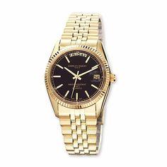 Mens Charles Hubert IP-Plated Black Dial Watch 9d8c34004d