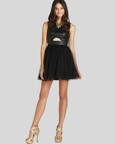BCBGeneration Dress - Faux Leather Cutout   Bloomingdale's