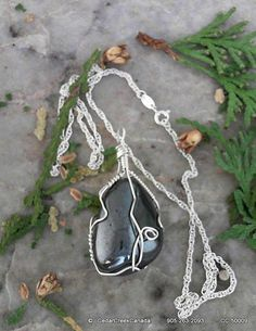 Hematite Gemstone Pendant Wire Wrapped w 925 by CedarCreekCanada, $39.95