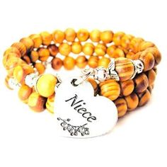 NATURAL WOOD WRAP BANGLE NIECE HEART WITH FLOWERS BRACELET - See more at: http://www.chubbychicocharms.com #Family #Heart #Natural #Niece #HandeMade