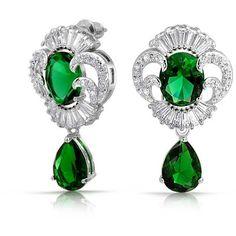 CZ Teardrop Vintage Estate Jewelry Style Earrings Gatsby Inspired ($27) ❤ liked on Polyvore featuring jewelry, earrings, green, vintage jewelry, drop earrings, vintage drop earrings, 1920s earrings and vintage earrings