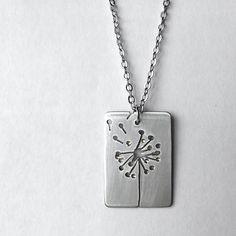 Dandelion Necklace - Handcrafted Silver Flower Pendant, Metalwork Jewelry, Tag Pendant, OOAK - 'Blown Away'