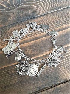 Travel charm bracelet - metal travel adventure charm bracelet - travel charm jewelry - travel/compass/passport/world gift keepsake bracelet
