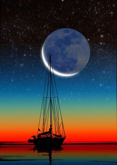 Sailboat Silhouette - Composite photo.