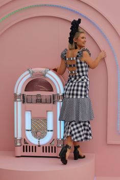 Pattern: Bodice Simplicity 6408 and skirt Vogue 9349 Fabric: Navy and white gingham from Spotlight Lexington Headpiece: Lauren J Ritchie Stakes Day, Spring Racing Carnival, Navy And White, Spotlight, Headpiece, Gingham, Peplum Dress, Bodice, Sisters