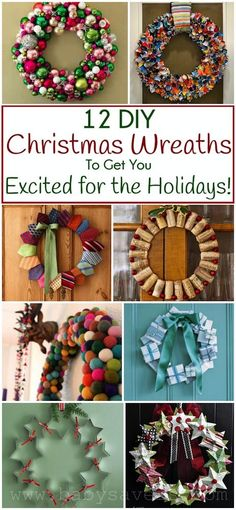 Find amazing Christmas wreath ideas in these 10 BEST DIY Christmas Wreaths! Some wreath ideas use new materials, some creatively repurpose household items!