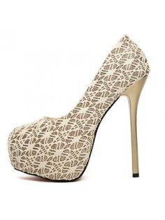 Round Toe Platform Lace Apricot Stiletto High Heels