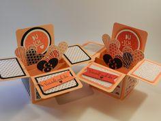"""Stampin´Up! Valentinskarte Box in a Card, Herzige Grüße für Verliebte mit dem Designpapier """"Jede Menge Liebe"""" und dem Stempelset """"Wir Beide"""", sowie """"Herzklopfen""""!"""
