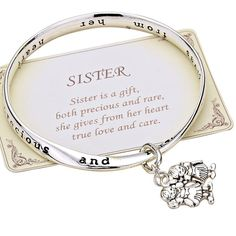 Bangle Bracelet Charm Sister Inspirational 'Sister Is a Gift' Silver Color