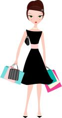 Elegant woman with shopping bags vector art illustration