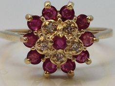 10K YELLOW GOLD RUBY & DIAMOND LADIES CLUSTER RING