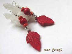 Boucles d'oreilles Zen, Feuille, Howlite, Rouge, Zen Chic, Bijoux Zen Boutik, Cadeau Femme : Boucles d'oreille par zenboutik