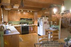 Log Cabin Kitchen Log Cabin Kitchens, Log Cabins, Log Homes, Cabinets, Ceiling, House, Ideas, Home Decor, Timber Homes