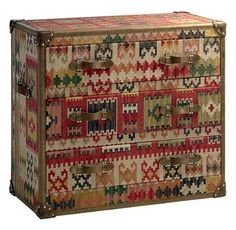 Taos Global Bazaar Kilim Tapestry Three Drawer Chest Dresser