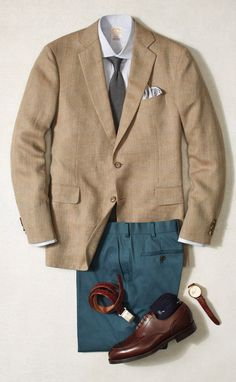 For the office this summer, wear your BrooksCool trouser with a sport coat and neutral tie. At 5pm, leave the coat behind for those after-work cocktails.