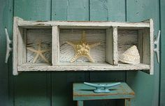 Shelf Shadowbox Cabinet Crate Tray Beach House Nautical Country Living Style Turquoise White on Etsy, $45.00