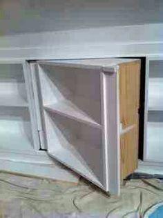 Attic shelves hiding crawl space!