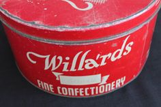 A personal favorite from my Etsy shop https://www.etsy.com/ca/listing/245510226/vintage-large-red-white-willards-fine