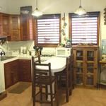 Casita Kitchen is fully equipped, stove w/oven, refrig., coffee maker/grinder, blender, toaster, microwave. Bar seating for 4.