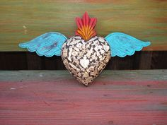 Wood Carved Sacred Heart With Milagros Sacred Flaming Heart with tin wings