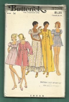 Vintage 1970's Butterick 3759 Empire Waist Baby Doll by MrsWooster, $8.75