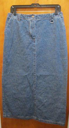 CHRISTOPHER & BANKS Womens Size 10 Long Modest Denim Jean Skirt Back Slit #ChristopherBanks #StraightPencil