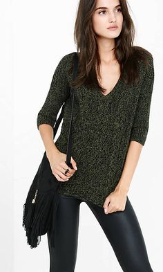 Marl Cable Express London Tunic Sweater from EXPRESS