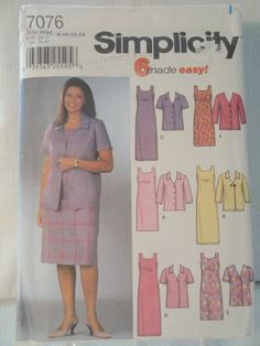 Simplicity 7076 Miss 8 10 12 14 Jackets Dresses 2002 - pinned by pin4etsy.com
