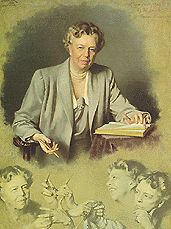 Anna Eleanor Roosevelt (/ˈɛlɨnɔr ˈroʊzəvɛlt/; October 11, 1884– November 7, 1962) was the First Lady of the United States from 1933 to 1945. She supported the New Deal policies of her husband, distant cousin Franklin Delano Roosevelt, and became an advocate for civil rights. After her husband's death in 1945, Roosevelt continued to be an international author, speaker, politician, and activist for the New Deal coalition. She worked to enhance the status of working women, although she opposed ...