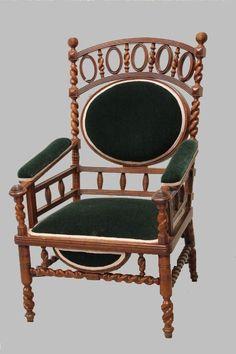c1880 Aesthetic arm chair, poss-G Hunzinger or Merklin Bros, NYC, 15-1h.    http://www.ebay.com/usr/circa19century