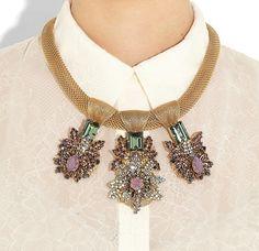 BRUNETTE IN A CITY - BIJOUX HEART, Empress 24-karat gold-plated opal, aquamarine and amythest necklace