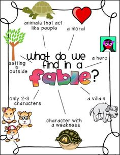 Identify type of fiction: fables, folktales, or myths. Teaching fables and folktales is specifically referred to in the Common Core standards. Here is an anchor chart to help students recognize traits of fables Reading Activities, Reading Skills, Teaching Reading, Reading Strategies, Dyslexia Strategies, Reading Genres, Reading Lessons, Guided Reading, Math Lessons