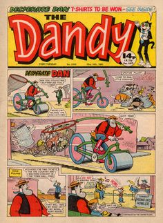 The Dandy - Desperate Dan & his steamroller in action.