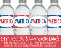 Printable July 4th #Merica Water Bottle Labels - Drink Wraps Wrappers Stickers - Red White Blue Silver Glitter Stars Fourth of July
