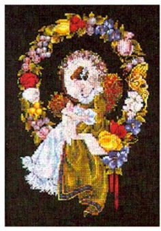 Lady of the Thread Counted Cross Stitch Pattern, Lavender and Lace by Marilyn Leavitt-Imblum, WI by GriffithGardens on Etsy
